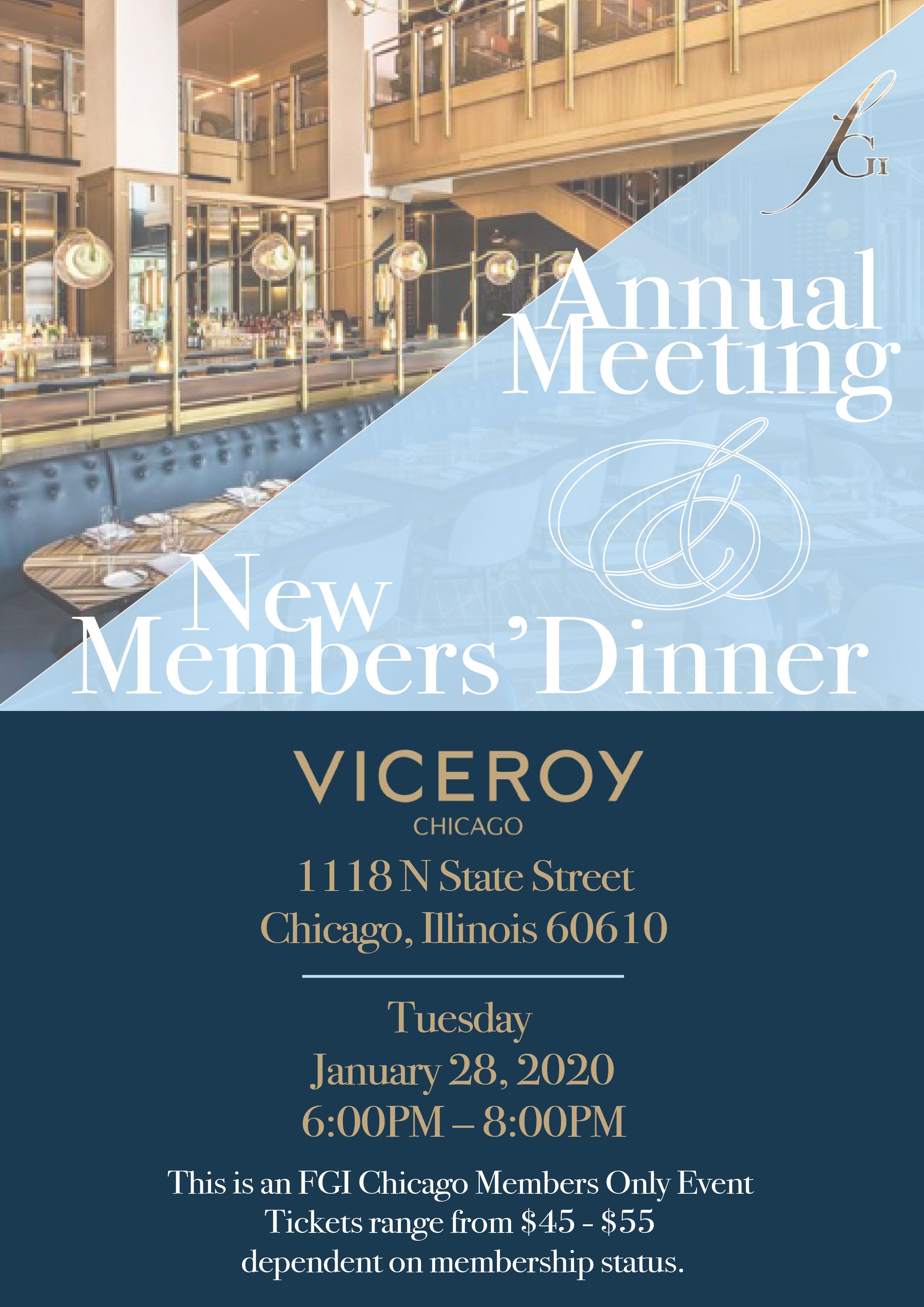 fgi chicago event annual meeting new member welcome dinner viceroy
